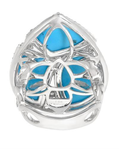 Michael Christoff Brand New Ring with 1.1ctw of Precious Stones - diamond and turquoise 14K White gold
