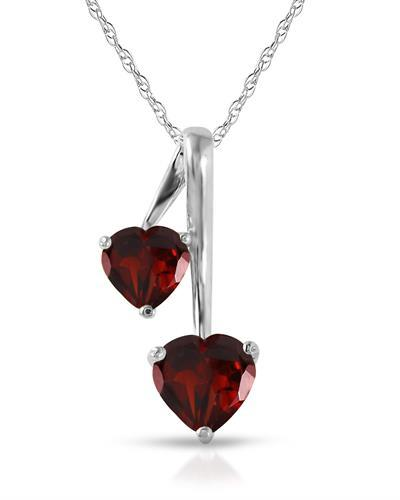 Magnolia Brand New Necklace with 1.4ctw garnet 14K White gold