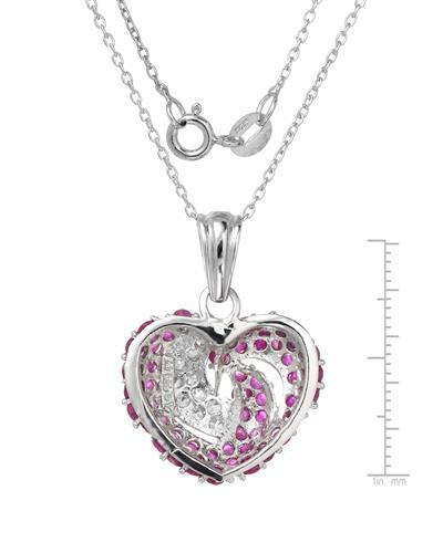 Brand New Necklace with 3ctw of Precious Stones - ruby and sapphire 925 Silver sterling silver