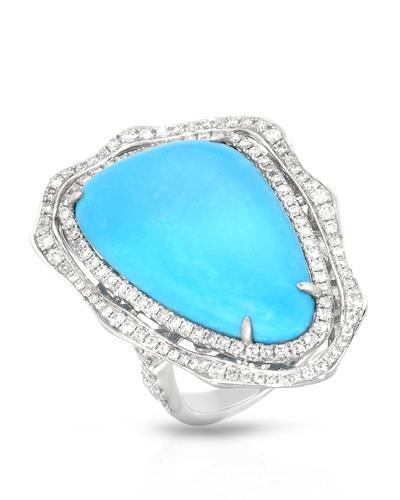 Michael Christoff Brand New Ring with 0.98ctw of Precious Stones - diamond and turquoise 14K White gold