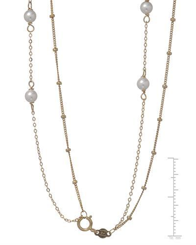 Golden Arc Jewelry Brand New Necklace with 0ctw faux pearl 10K Yellow gold