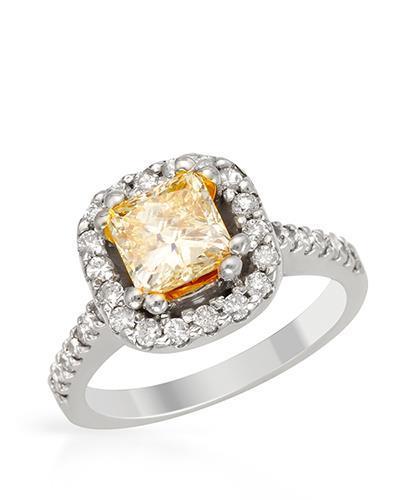 Brand New Ring with 2.37ctw of Precious Stones - diamond and diamond 14K Two tone gold