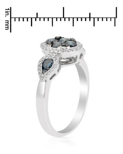 Brand New Ring with 0.95ctw of Precious Stones - diamond and diamond 14K White gold