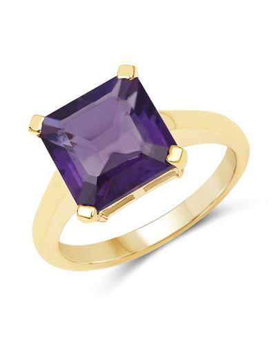 Brand New Ring with 4.62ctw amethyst 14K/925 Yellow Gold plated Silver