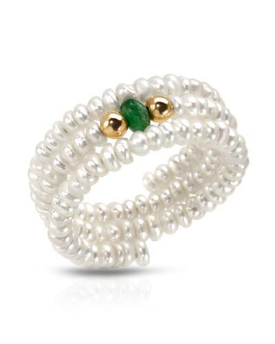 PEARL LUSTRE Brand New Ring with 0.14ctw of Precious Stones - emerald and pearl 14K Yellow gold