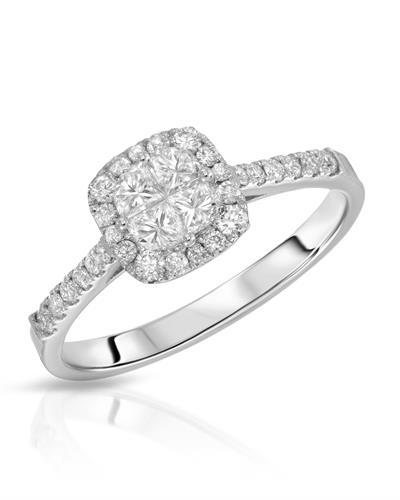 Julius Rappoport Brand New Ring with 0.59ctw of Precious Stones - diamond and diamond ctr 14K White gold