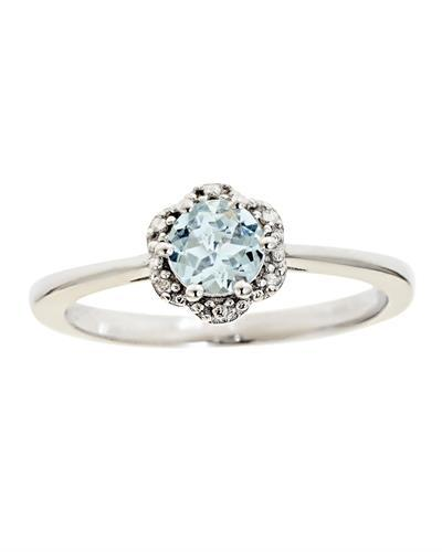 Brand New Ring with 0.41ctw aquamarine 925 Silver sterling silver