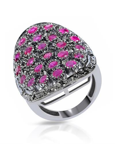 Brand New Ring with 4ctw of Precious Stones - diamond and ruby 925 Black sterling silver