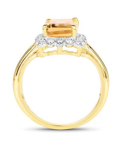 Brand New Ring with 2.29ctw of Precious Stones - citrine and topaz 14K/925 Yellow Gold plated Silver