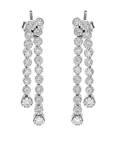 Brand New Earring with 0.98ctw diamond 14K White gold