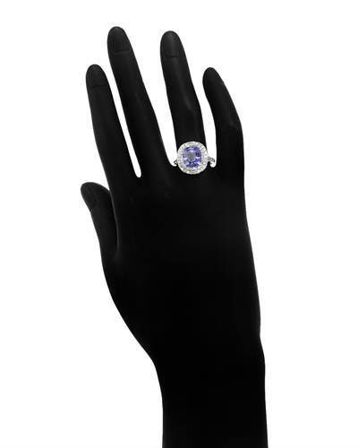 Brand New Ring with 4.03ctw of Precious Stones - diamond and tanzanite 14K White gold