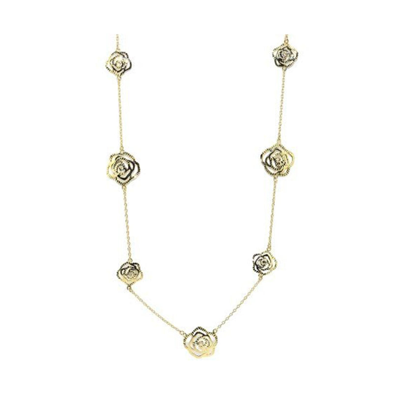 SeChic Brand New Rose Pendant Necklace in 14K Yellow Gold