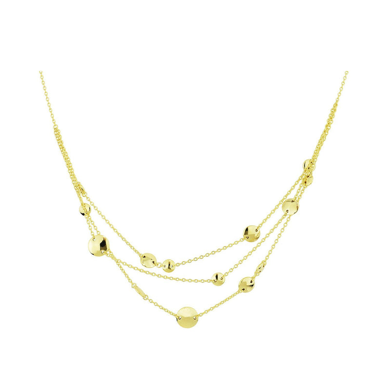 SeChic Brand New Three Layer Necklace in 14K Yellow Gold