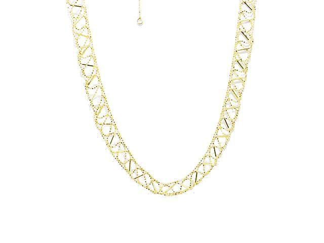 SeChic Brand New Beaded Mesh Chain Necklace in 14K Yellow Gold