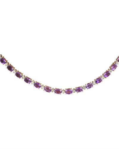 27.50 Carat Amethyst 14K White Gold Diamond Necklace
