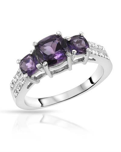 Brand New Ring with 1.54ctw of Precious Stones - amethyst and topaz 925 Silver sterling silver