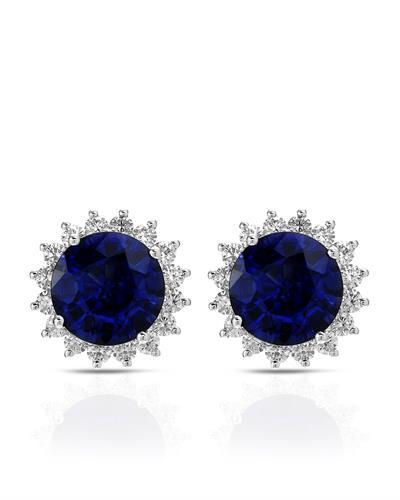Brand New Earring with 9.91ctw of Precious Stones - diamond and sapphire 18K White gold