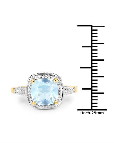 Brand New Ring with 2.3ctw topaz 14K/925 Yellow Gold plated Silver