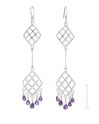Brand New Earring with 6.2ctw amethyst 925 Silver sterling silver