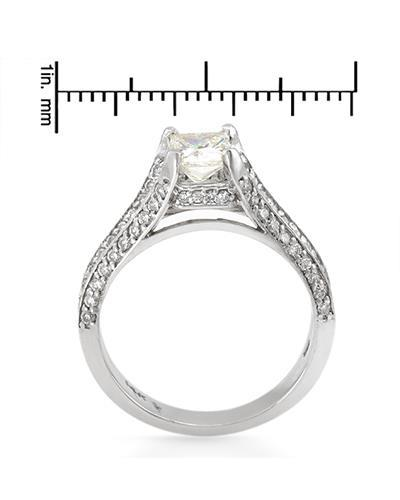 Brand New Ring with 1.5ctw of Precious Stones - diamond and diamond 14K White gold