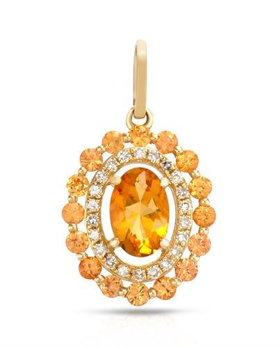 Brand New Pendant with 0.75ctw of Precious Stones - citrine, diamond, and sapphire 14K Yellow gold
