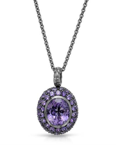 HELLMUTH Brand New Necklace with 16.13ctw amethyst 925 Black sterling silver