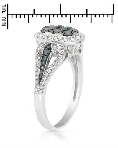 Brand New Ring with 1.03ctw of Precious Stones - diamond and diamond 14K White gold