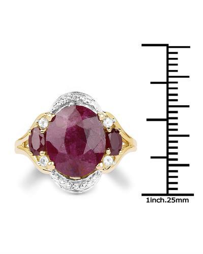 Brand New Ring with 7.11ctw of Precious Stones - ruby, ruby, and topaz 14K/925 Yellow Gold plated Silver