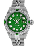 Rolex PreOwned Automatic (Self Winding) date Watch with 0.85ctw of Precious Stones - diamond and emerald