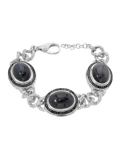 HELLMUTH Brand New Bracelet with 57.32ctw of Precious Stones - diamond and moonstone 925 Silver sterling silver