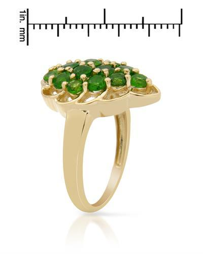 Brand New Ring with 1.95ctw diopside 14K/925 Yellow Gold plated Silver