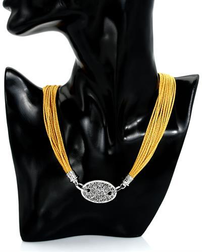 Millana Brand New Necklace 14K/925 Two tone Gold plated Silver