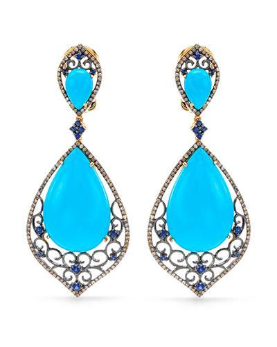 Brand New Earring with 32.83ctw of Precious Stones - diamond, sapphire, and turquoise 14K Yellow gold