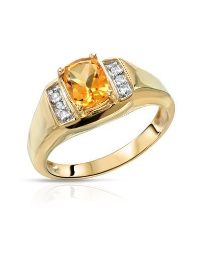 Brand New Ring with 1.36ctw of Precious Stones - citrine and topaz 14K/925 Yellow Gold plated Silver