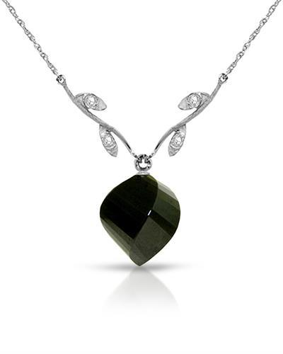 Magnolia Brand New Necklace with 15.52ctw of Precious Stones - diamond and spinel 14K White gold