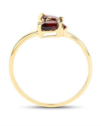 Brand New Ring with 0.76ctw garnet 14K/925 Yellow Gold plated Silver