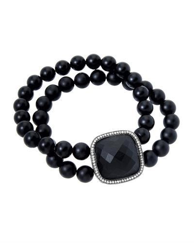 HELLMUTH Brand New Bracelet with 35.2ctw of Precious Stones - diamond and onyx 925 Black sterling silver