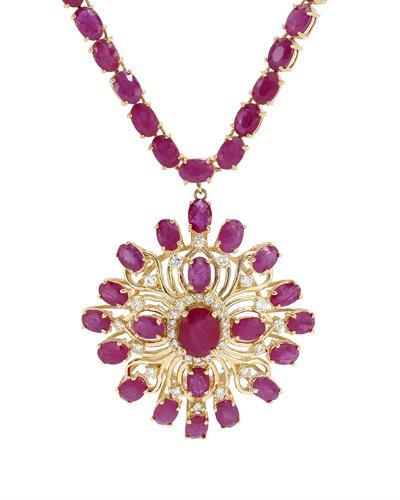 Brand New Necklace with 44.81ctw of Precious Stones - diamond, ruby, and ruby 14K Yellow gold