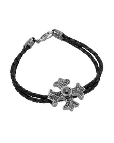 HELLMUTH Brand New Bracelet with 2.25ctw diamond  Black leather and 925 Black sterling silver