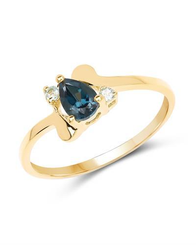 Brand New Ring with 0.58ctw of Precious Stones - topaz and topaz 14K/925 Yellow Gold plated Silver