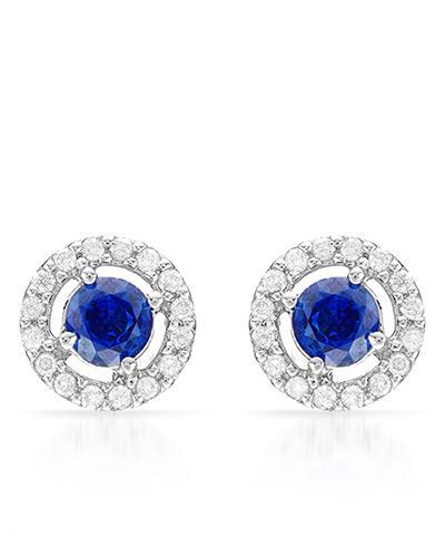 Brand New Earring with 1.17ctw of Precious Stones - diamond and sapphire 14K White gold