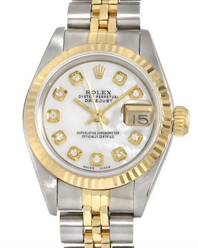 Rolex 69173 PreOwned Automatic date Watch with 0.1ctw of Precious Stones - diamond and mother of pearl