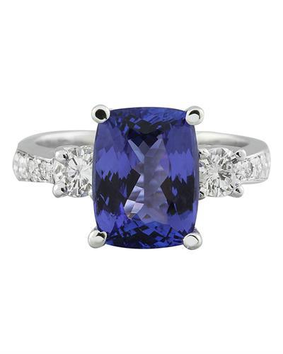 5.40 Carat Tanzanite 14K White Gold Diamond Ring