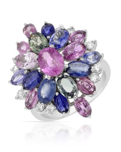 Brand New Ring with 5.65ctw of Precious Stones - diamond and sapphire 14K White gold