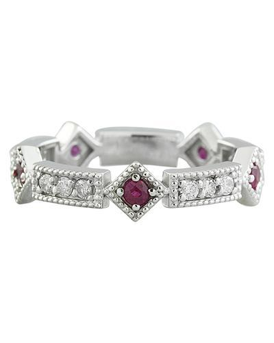 0.46 Carat Ruby 14K White Gold Diamond Ring