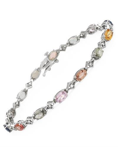 Brand New Bracelet with 8.62ctw of Precious Stones - diamond and sapphire 14K White gold
