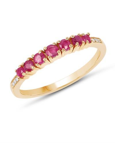 Brand New Ring with 0.45ctw of Precious Stones - diamond and ruby 14K Yellow gold