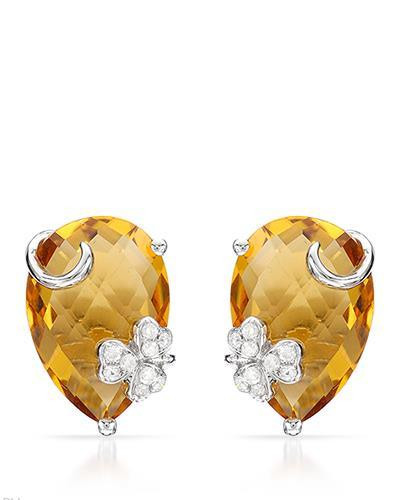Brand New Earring with 5.77ctw of Precious Stones - citrine and diamond 14K White gold
