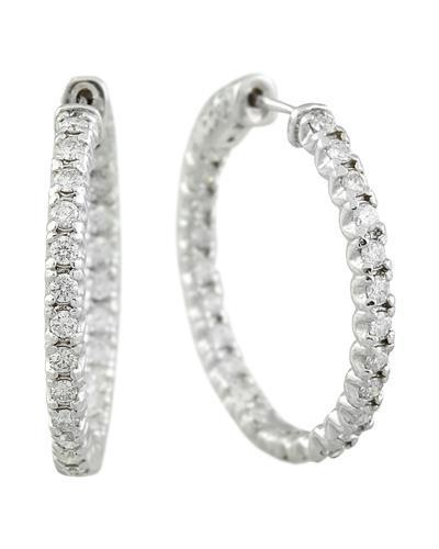 1.40 Carat 14K White Gold Diamond Hoop Earrings