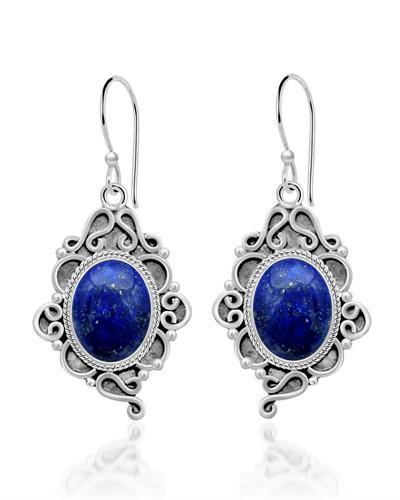 Brand New Earring with 6ctw lapis lazuli 925 Silver sterling silver